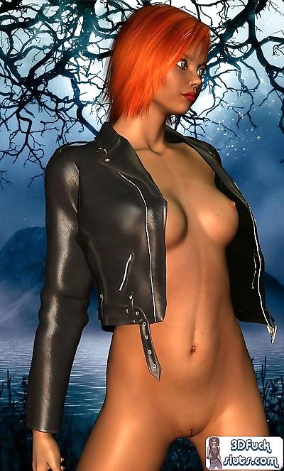 Short hair redhead toon babe..