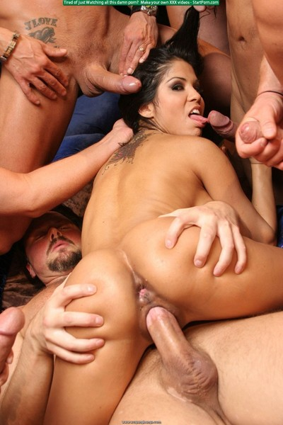 Hawt and nasty alexis amore takes on 6 men in a orgy